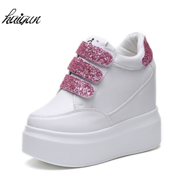 2018 Hot Sale New Wedge Bling Shoes Hidden Heels Womens Elevator Casual For Women Black White Silver Rhinestone