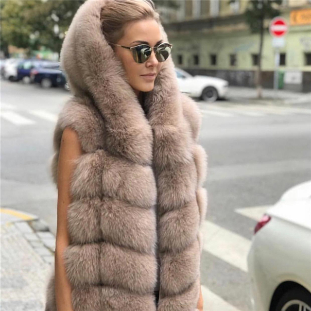 Natural Mulheres Capa Colete de Pele De Raposa Genuína Pele De Raposa Casaco Sem Mangas Com Capuz Completa Pelt Mulheres Reais Fox Fur Gilet com capuz de pele