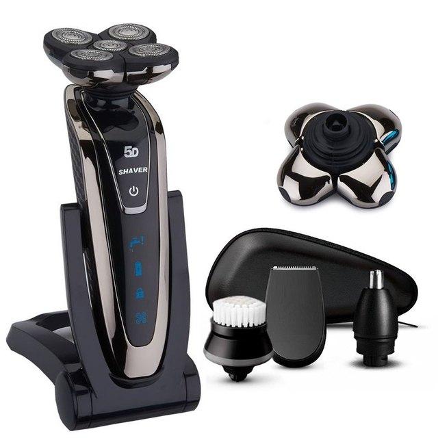 Inalámbrico 5 cabeza Afeitadora eléctrica barba afeitadora húmedo y seco de afeitar  eléctrica para hombres recargable e8bc29a88a52