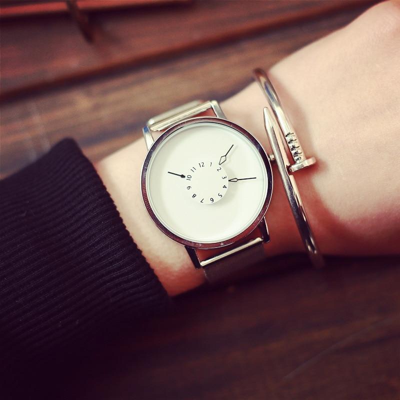Fashion Women Men Quartz Watch Simple Unique Watches Face Design With Steel Mesh Band Lovers&#39 Wristwatches Girl Cloc 4