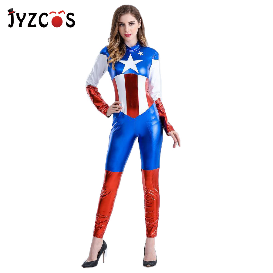 JYZCOS Captain America Costume Halloween Costumes for Women Superhero Cosplay Carnival Costume Adult Sexy Fancy Bodysuit