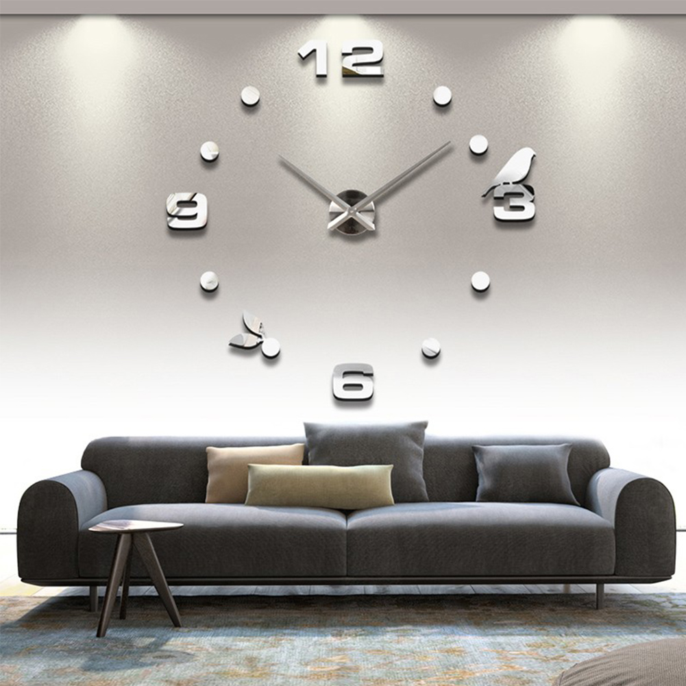 Sticker Mirror Wall-Clock Quartz-Needle Living-Room Home-Decoration Acrylic Digital Modern-Design