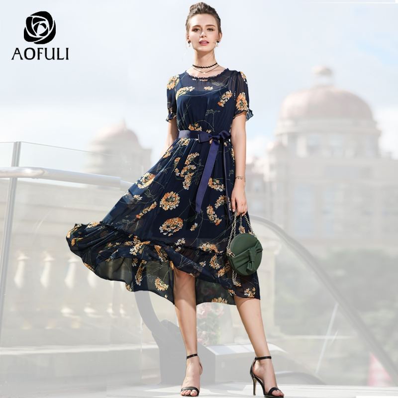 AOFULI Plus Size Flower Print Dress For Women Chiffon Dress Summer Boho Ruffle Short Sleeve Midi