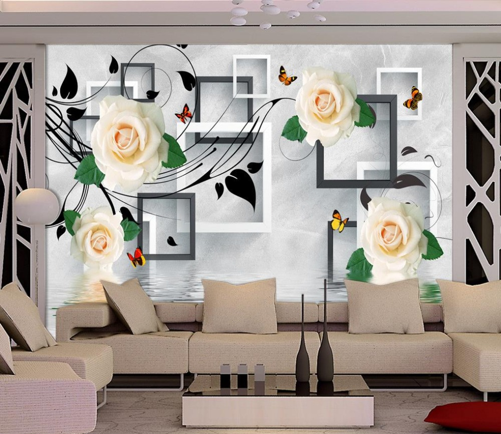 3d wallpaper for room White rose reflection mural flower wallpaper 3d stereoscopic wallpaper
