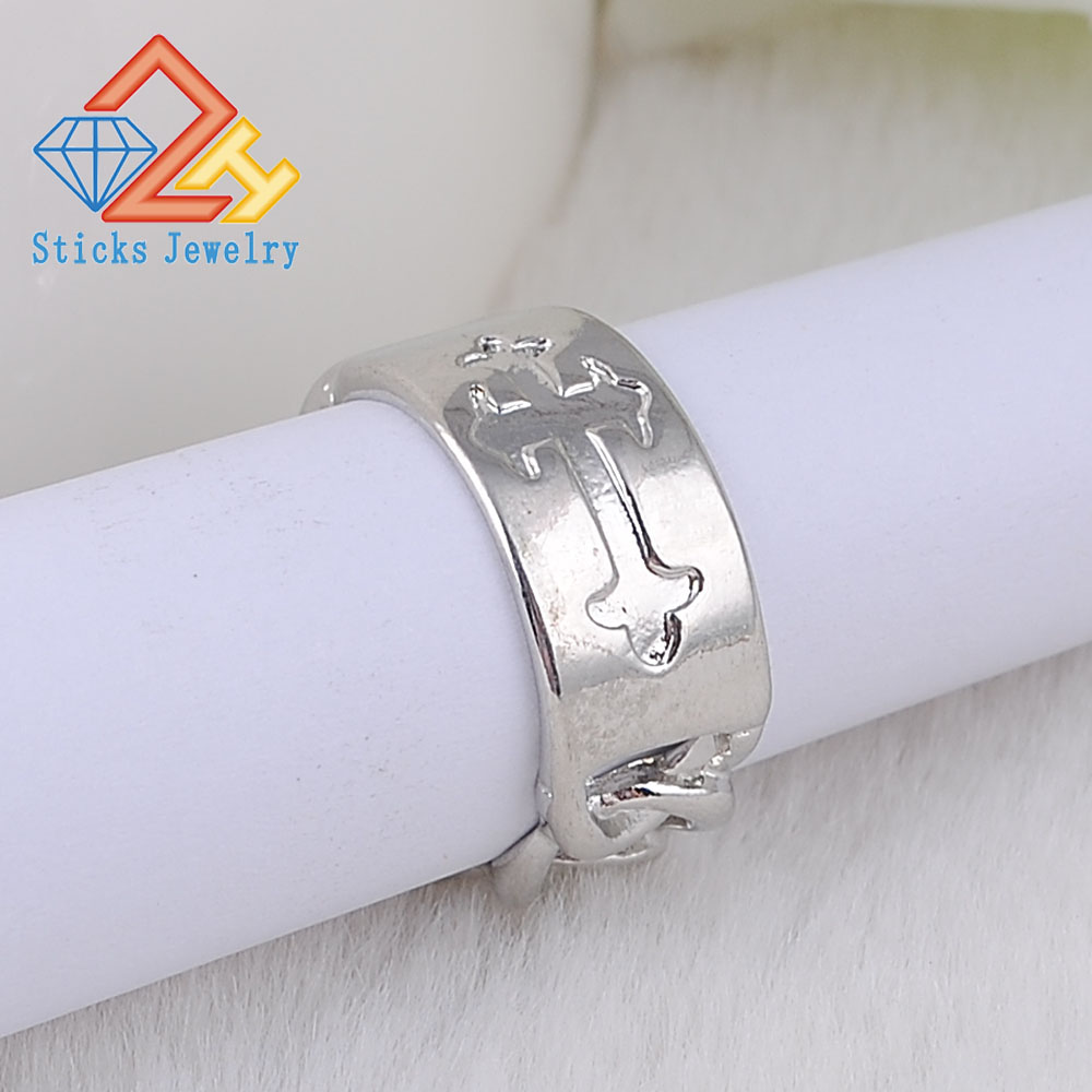 Fashion Metal Cross Ring Zinc Alloy Link Chain Shape White k Plated Unisex Finger Ring