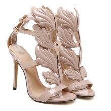 Летние сандалии Рим Улица погладить крылья пламени высокие каблуки leaf свадебные туфли высокое качество насос женская обувь золото/ню/черный