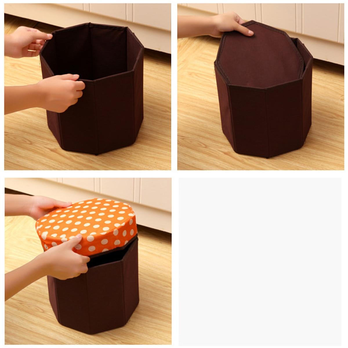 Creative Folding Storage Organizer Circular Multi-function Storage Box for Clothes Books Living Goods (Dot Navy Blue)