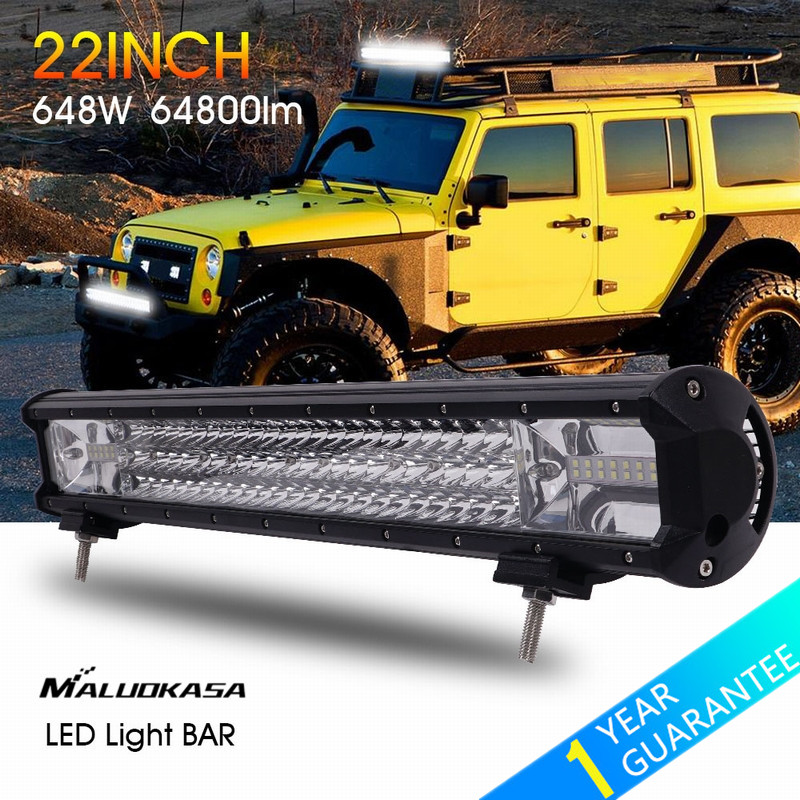 MALUOKASA 22inch 648W LED Light Bar 64800LM Car Driving Lamp Auto DRL Searchlight for Off Road Vehicle SUV Jeep Wrangler 4x4 4WD new arrivals 20 inch 128led car work light 4 rows 384w led bar combo off road driving lamp