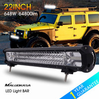 MALUOKASA 22inch 648W LED Light Bar 64800LM Car Driving Lamp Auto DRL Searchlight for Off Road Vehicle SUV Jeep Wrangler 4x4 4WD