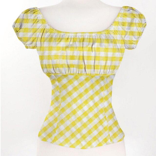 Del Mujeres Primavera Sexy Camisas Verano Plaid Hombro Casual Blusa w4r4Xz6qx