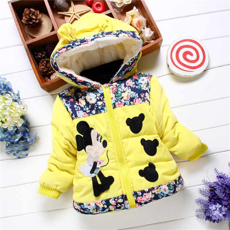 Зимняя детская хлопковая куртка с Микки и Минни для девочек; хлопковое пальто; удобная детская куртка из мягкого хлопка с цветочным рисунком для девочек; бархатная куртка