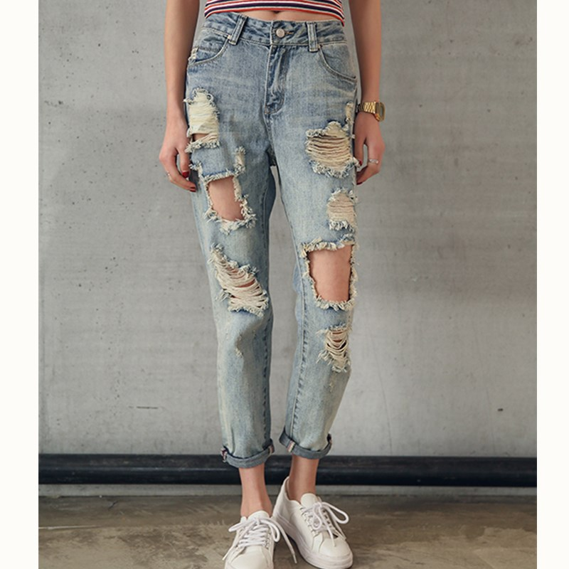 JUJULAND 2019 Fashion Women Destroyed Ripped Distressed Slim Denim Jean Boyfriend Jeans Sexy Hole Pencil Trouser  Plus Size 9053