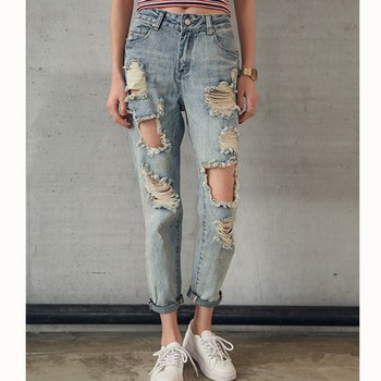 цена на JUJULAND 2019 Fashion Women Destroyed Ripped Distressed Slim Denim Jean Boyfriend Jeans Sexy Hole Pencil Trouser  Plus Size 9053