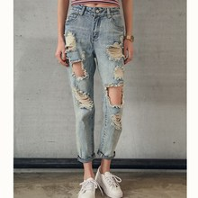JUJULAND 2019 Fashion Women Destroyed Ripped Distressed Slim Denim Jeans Boyfriend Sexy Hole Pencil Trousers New Plus Size