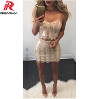 Missord 2016 Sexy Strapless Party Women White Lace Dresses Two Piece Set Sheath Sequins Dress Evening