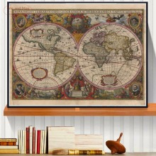 Vintage World Map Canvas Art Print Painting Poster Wall Pictures For Living Room Home Decoration Decor No Frame