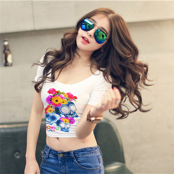 Sexy Crop Top T Shirt Women 2019 New Short Sleeve O-Neck T-Shirt Harajuku Flower Skulls Plus Size Gothic Tee Shirt Femme Clothes 1
