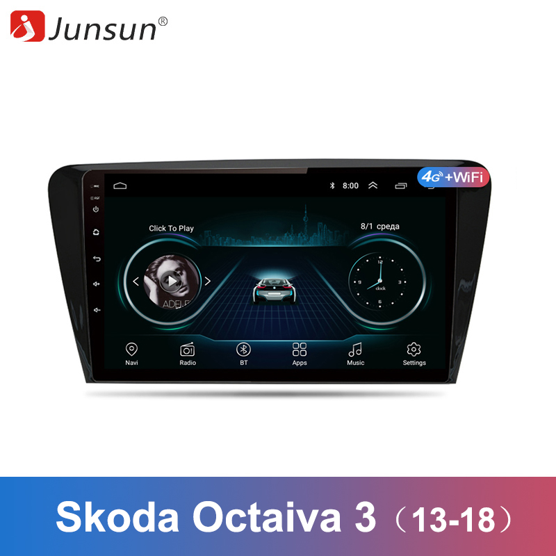 Junsun 2 Din Multimedia Video Player Android 8 1 GPS Navigation Radio WIFI OBD2 For SKODA