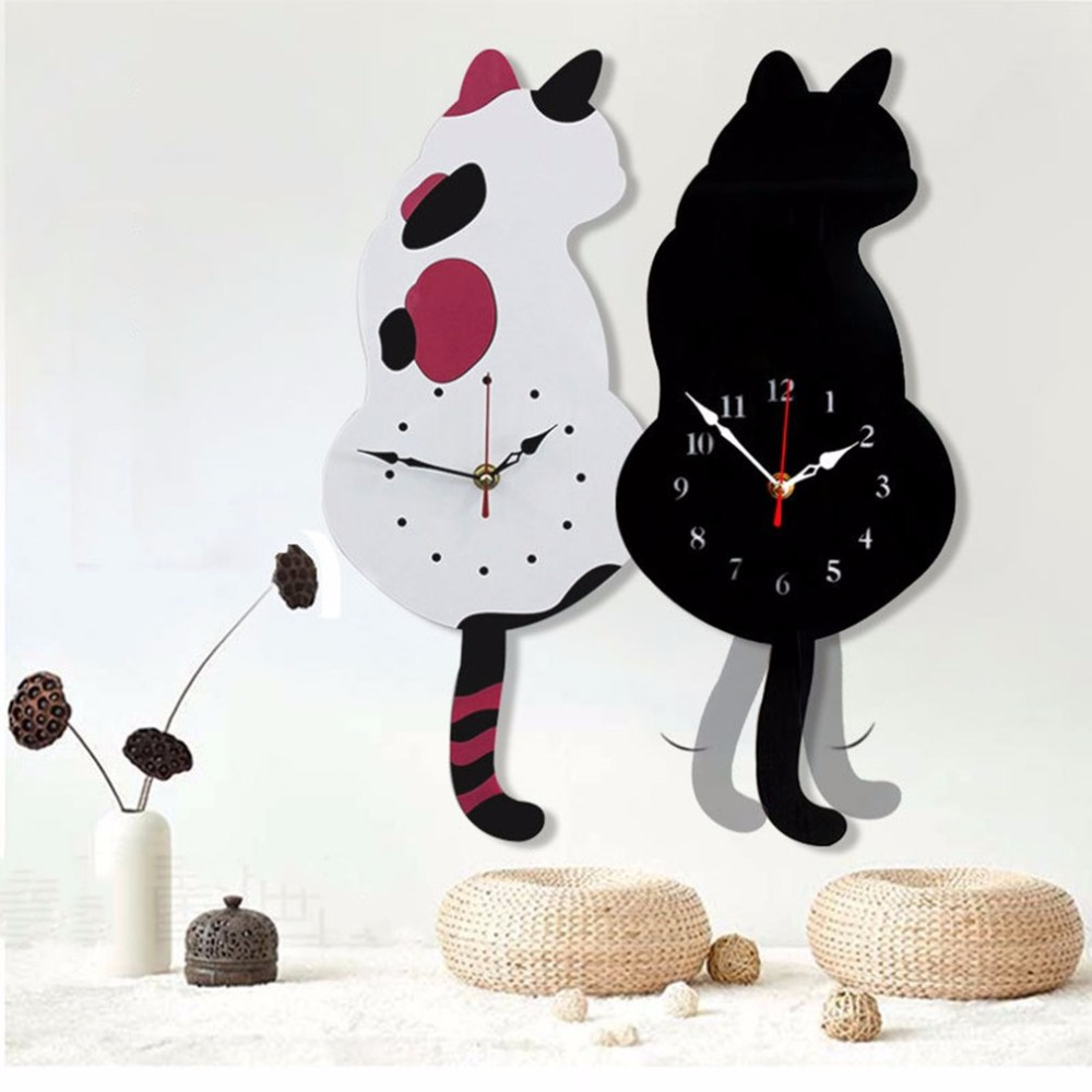 Cute Design Animal Cat Wall Clock Household Living Room Acrylic Wagging Tail Wall Clocks Home Decoration