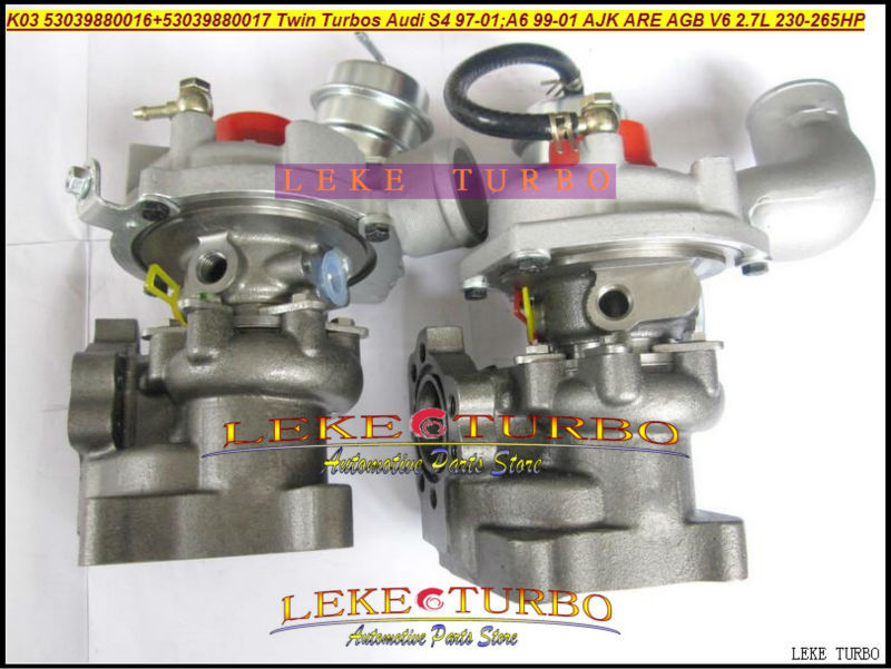 K03 53039880016+53039880017 Twin Turbos Turbocharger For AUDI S4 97-01 A6 99-01 AJK ARE AZB AGB V6 2.7L 265HP