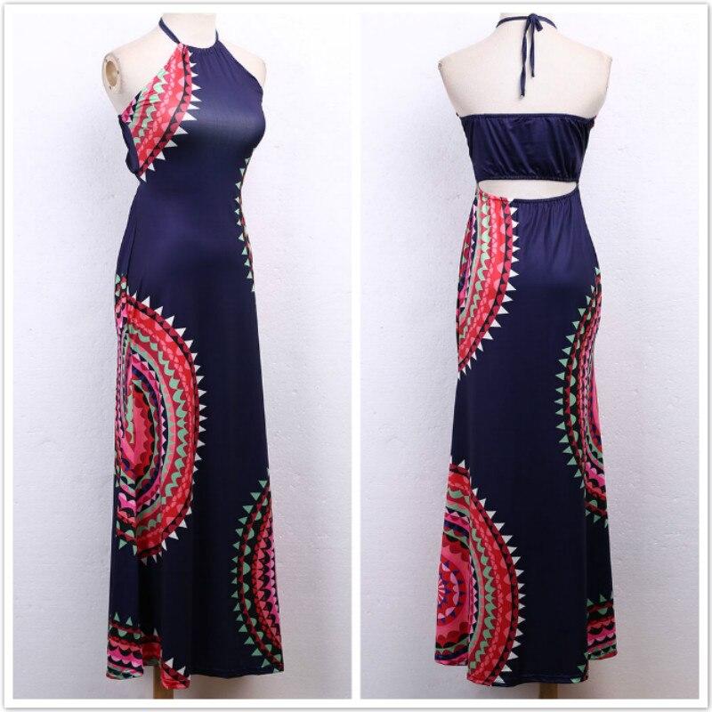 Vestidos Ladies Sleeveless Dresses Women 2016 Summer New Beach Casual Vintage Print A Line Split Maxi Dress Plus Size S-3XL 4
