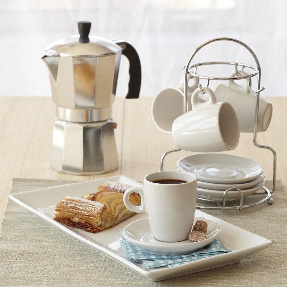 Aluminum Espresso Stovetop Coffeemaker Percolator Pot 3 cup/6 cup Aluminum 8-Angle Moka Pot Espresso Stove Top Coffee Maker Moka стоимость
