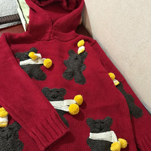 Real Poncho Casual Pullover Women Sweater 2017 New Hand-woven Lovely Three-dimensional Cartoon Forest Hooded Wool Retro