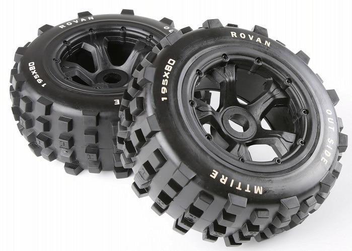 Rovan 1 5 Scale RC Car BAJA Parts Rear Knobby Wheel Tyres KM RV HPI Baja