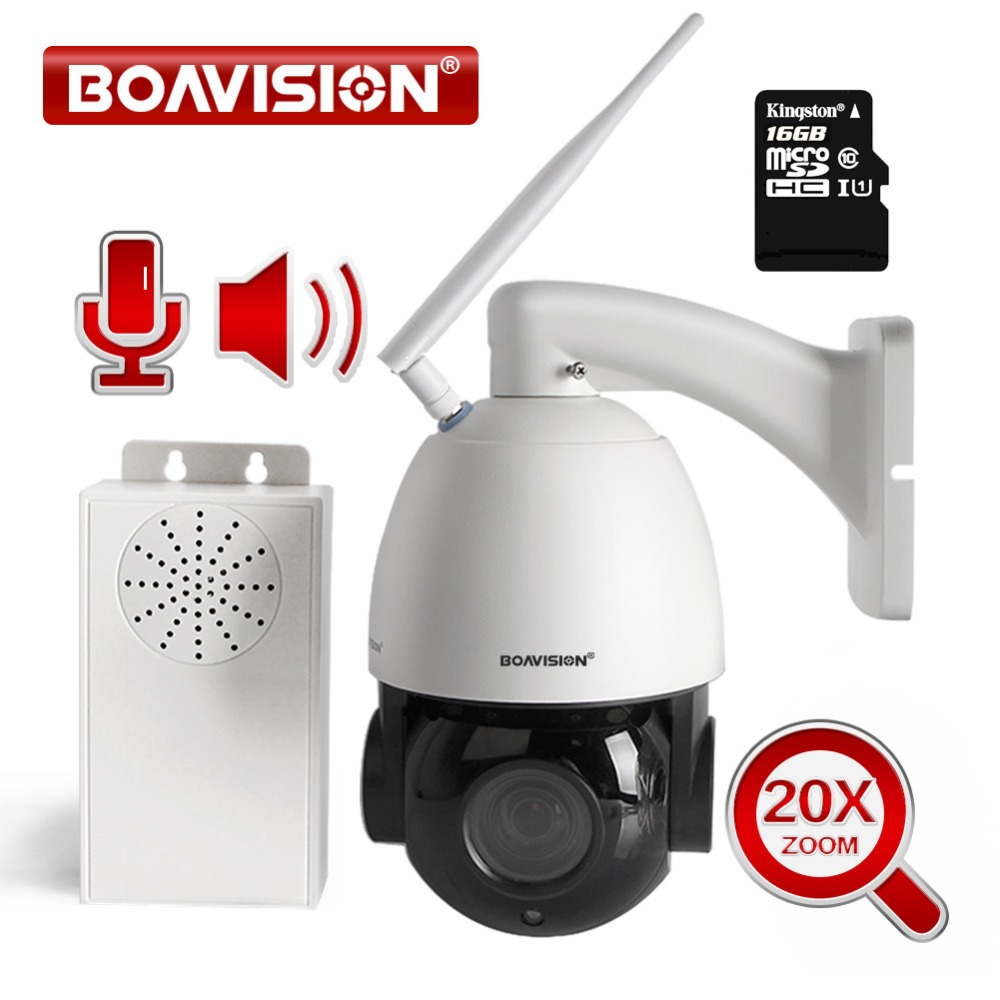 20X Zoom HD 1080P WIFI IP Camera PTZ Dome Outdoor Wireless Camera Motion Detection Two Way Audio Talk With Speaker 16GB TF Card syarin baby monitor hd 720p 1 0mp ip camera wireless wifi two way audio motion detection alarm wifi camera tf card slot pan tilt