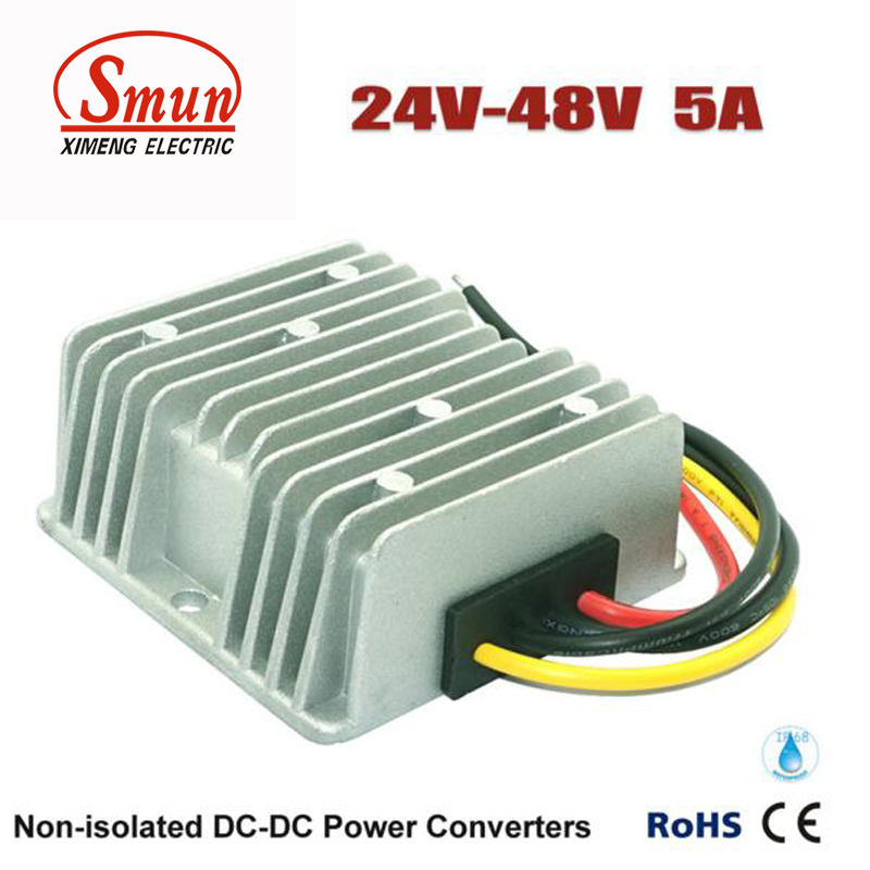DC-DC Power Converter 24v to 48v 5A 240W Waterproof for Electric Car 1pc step down converter waterproof car power supply module regulator dc dc 24v to 12v 20a 240w for electric motor
