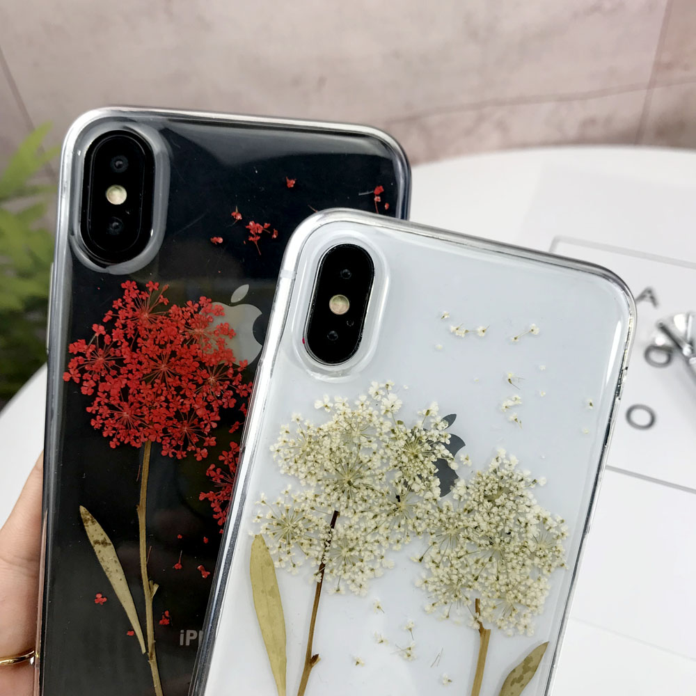 Real Dried Flowers TPU Case For iPhone XS Max XR Handmade Transparent Pressed Back Cover For iPhone 6 6S 7 8 Plus X Silicon Case in Fitted Cases from Cellphones Telecommunications
