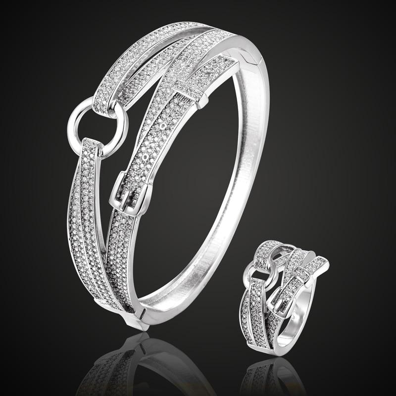 Perfect New Year Cubic Zircon Belt Bangle bracelet Rhodium Silver color Copper cuff Bangles Pulseira Mujer