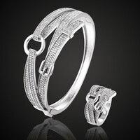 Perfect New Year Cubic Zircon Belt Bangle&bracelet Rhodium Silver color Copper cuff Bangles Pulseira Mujer