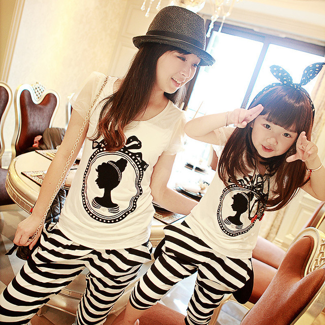 Family Clothing Sets Mother Daughter  Cotton T-shirt + Stripe Pants Fashion Summer Striped Mother and Daughter Matching Outfits