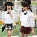 2 шт. девушки одежды наборы с длинным рукавом красный черный плед плиссированные юбки детская одежда набор весна лето школьной одежды