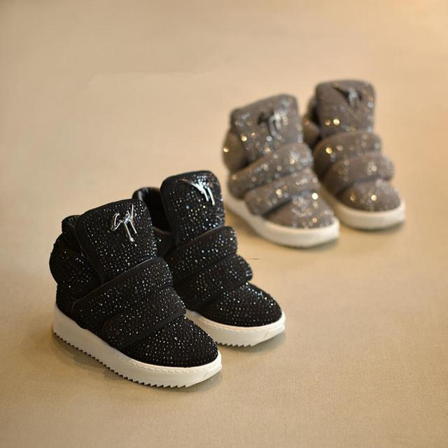 Koovan 2016  Winter Children's Shoes Leather Kids Boots Sports Shoes Rhinestone Girls Boys Fashion Sneakers For Sports Warm BOOT