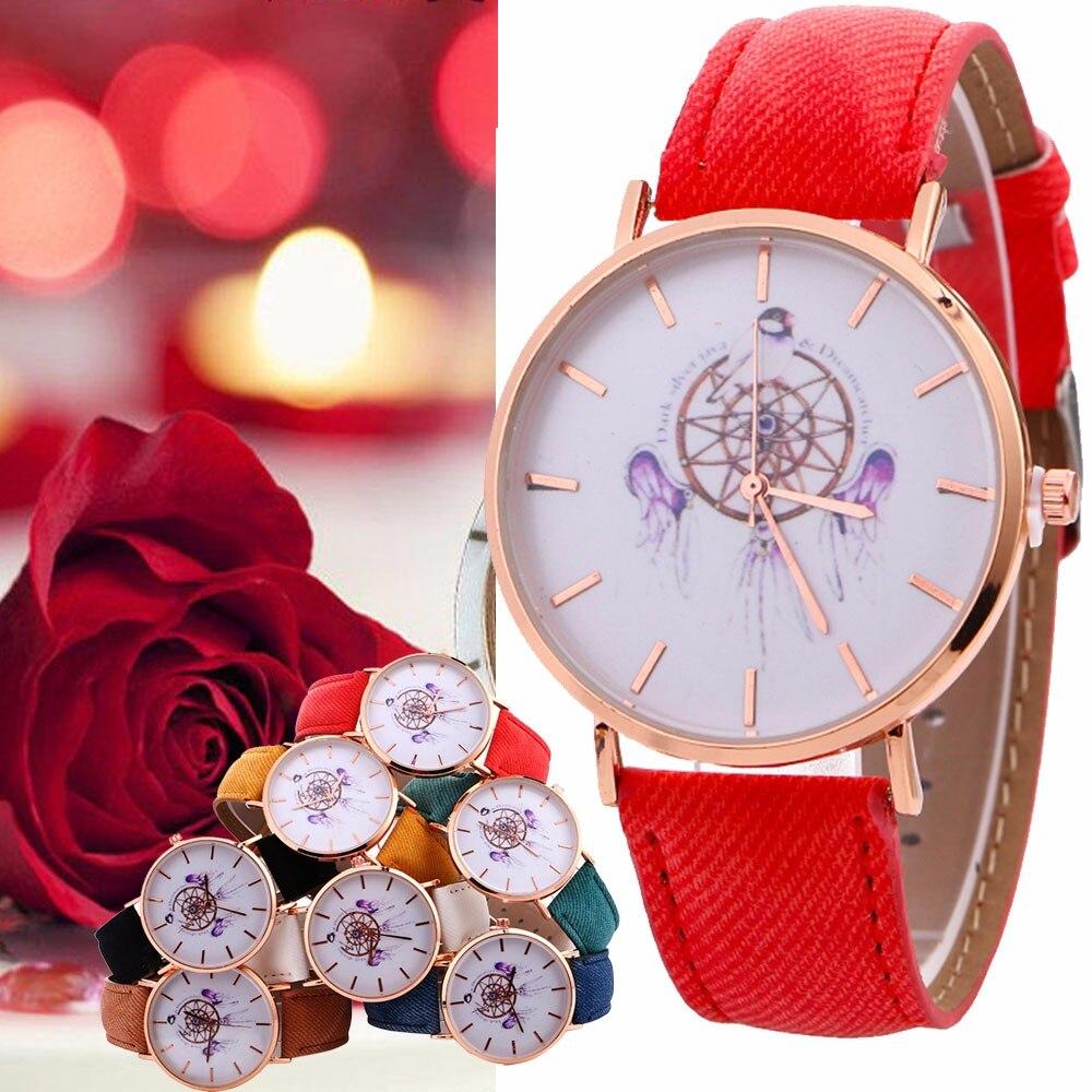 Jimshop Store 7 Colors Dropshipping Women Casual Design Wind Chimes Pattern Quartz Watch Cowboy Belt Table Watch Elegant relogio feminino NEW