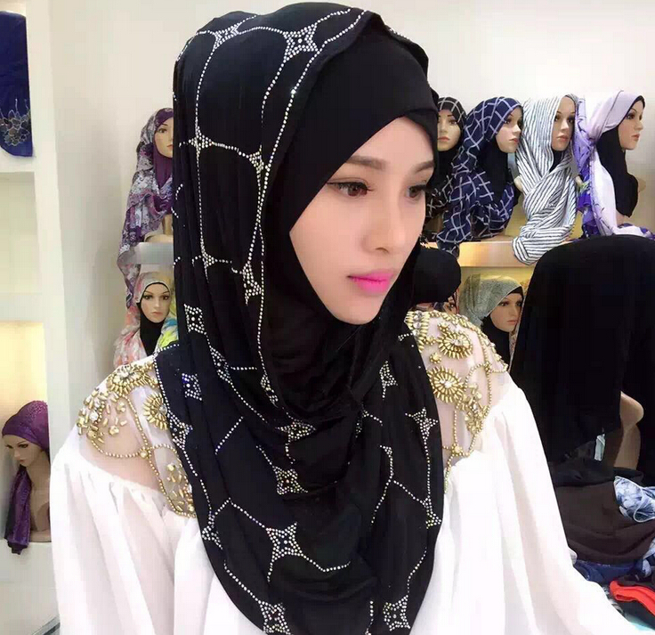 Free Shipping Muslim  Scarf  Middle East  Austria Drill  Sets Of Head  Female Summer  Scarf  Hui  Ethnic Style  Hijab  #8139R0