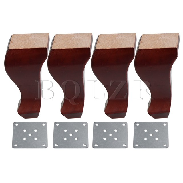 4xbqlzr 15cm Height Red Brown Rubber Wood Sofa Wooden Legs Cupboards Tables Chair Feet Lifter With