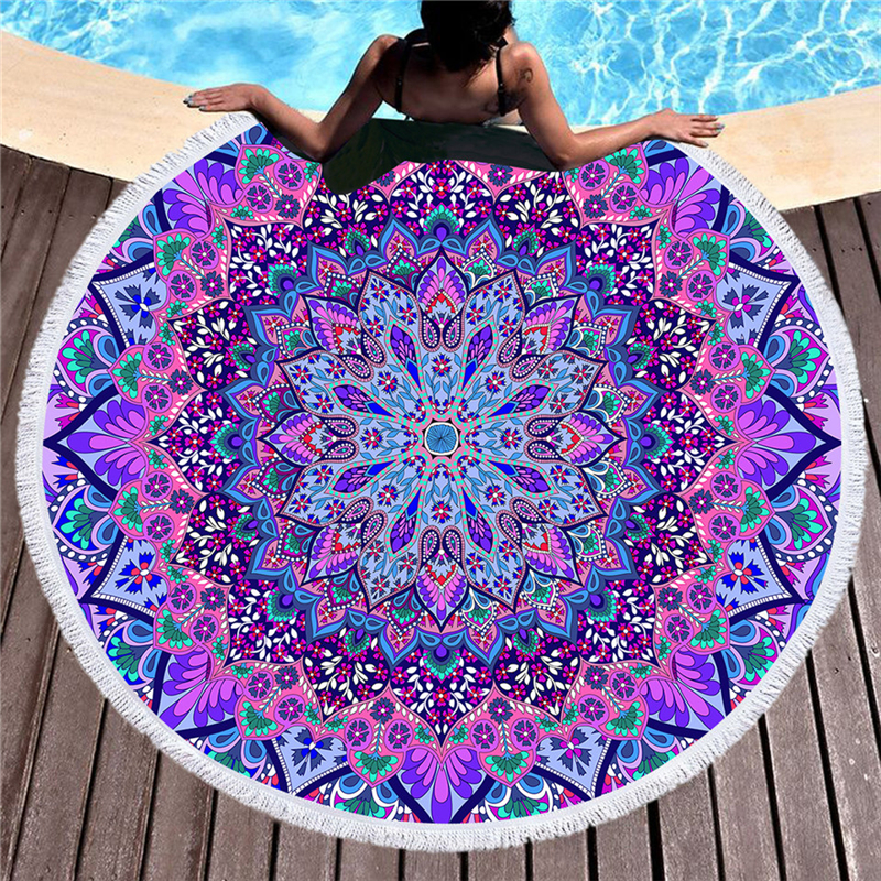 150cm Mandala Printed Large Round Beach Towel for Adult Microfiber Summer Soft Absorbent Bath Towel Yoga Mat Blanket Tapestry
