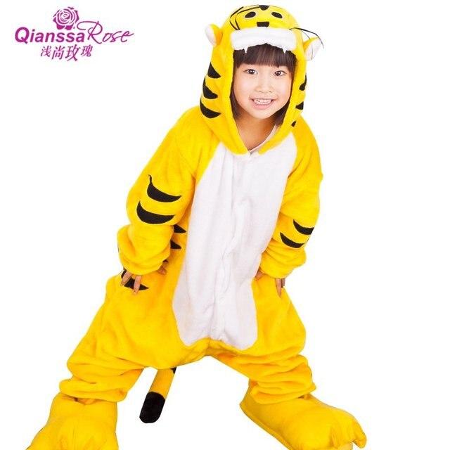 ffd8aa63696 Nieuwe 2016 Kids Jongens Meisjes Tijger Cosplay Kostuum Kinderen Animal  Onesie Yellow Tiger Pyjama Cartoon Pyjama