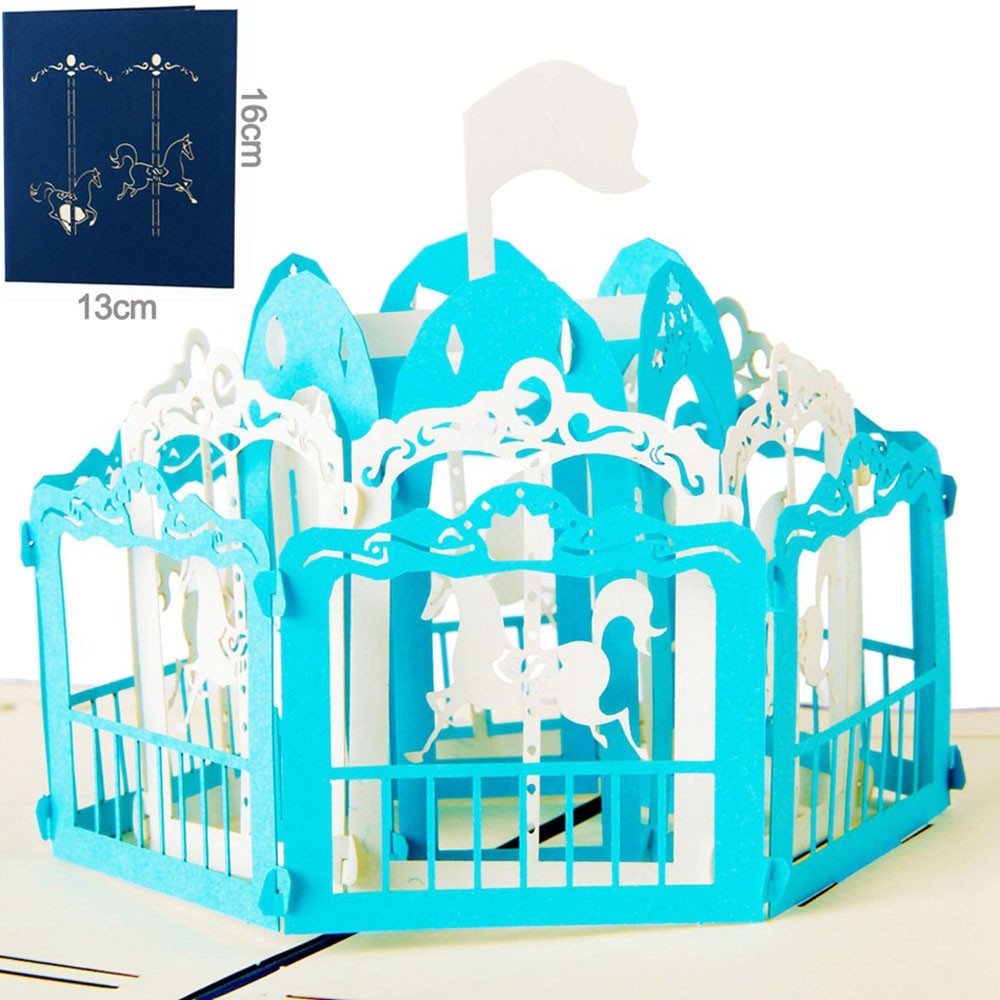 2017 3d Rotating Trojans Shapes Pop Up Cards Carousel Lover Happy