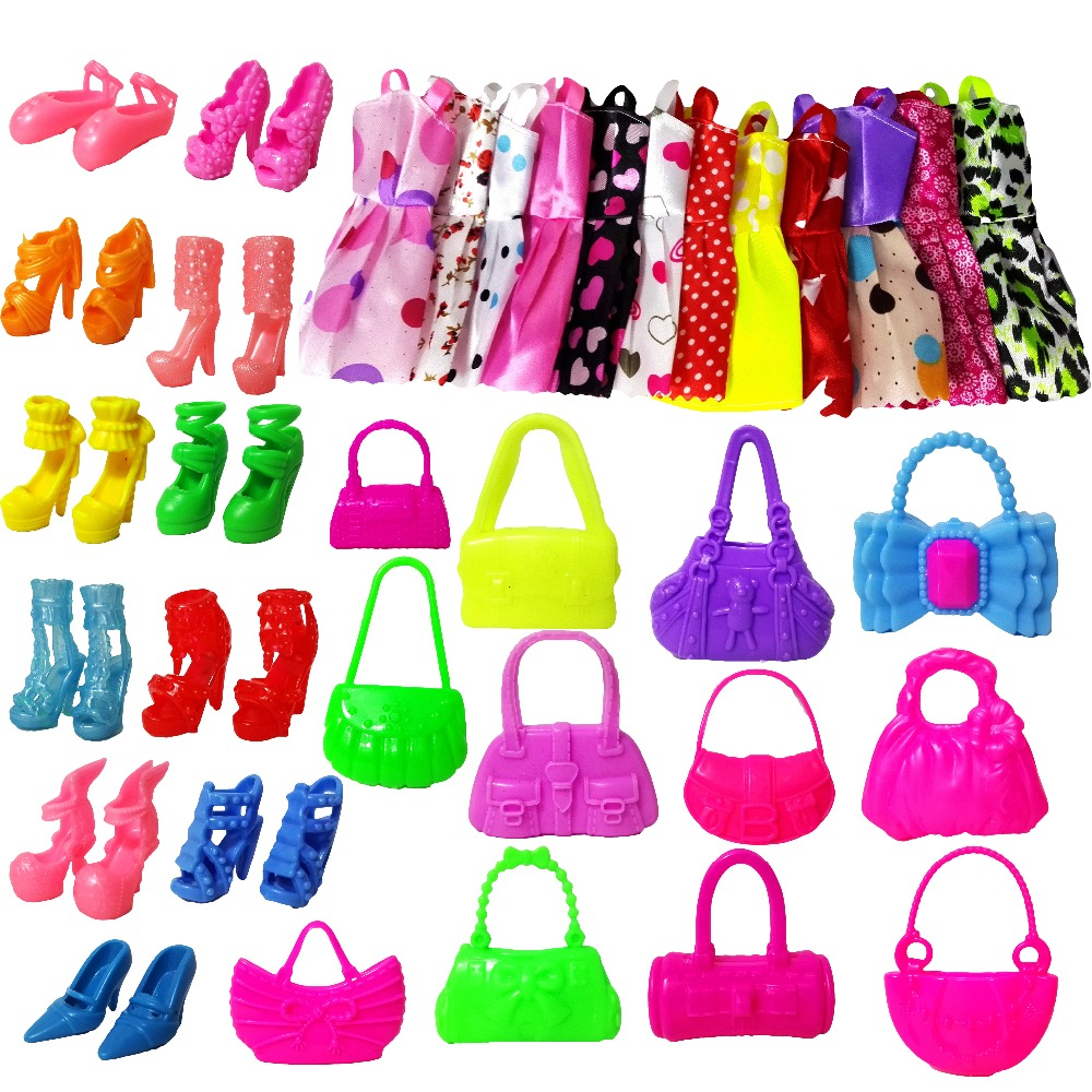 22 Pcs = 12Handmade Mini Dress Doll Clothes Short Skirt + 5 Doll Bag + 5Accessories Shoes Dollhouse For Barbie Doll Kid Toy Gift new 20 pcs set handmade party 12 clothes fashion mixed style dress 8 pair accessories shoes for barbie doll best gift girl toy