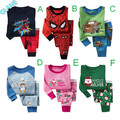 2016 New Boys Girls Kids Sleepwear Nightwear 2pcs Long Sleeve Tops+Pants Pyjamas Set 2-8Y batman coverall pajamas kigurumi