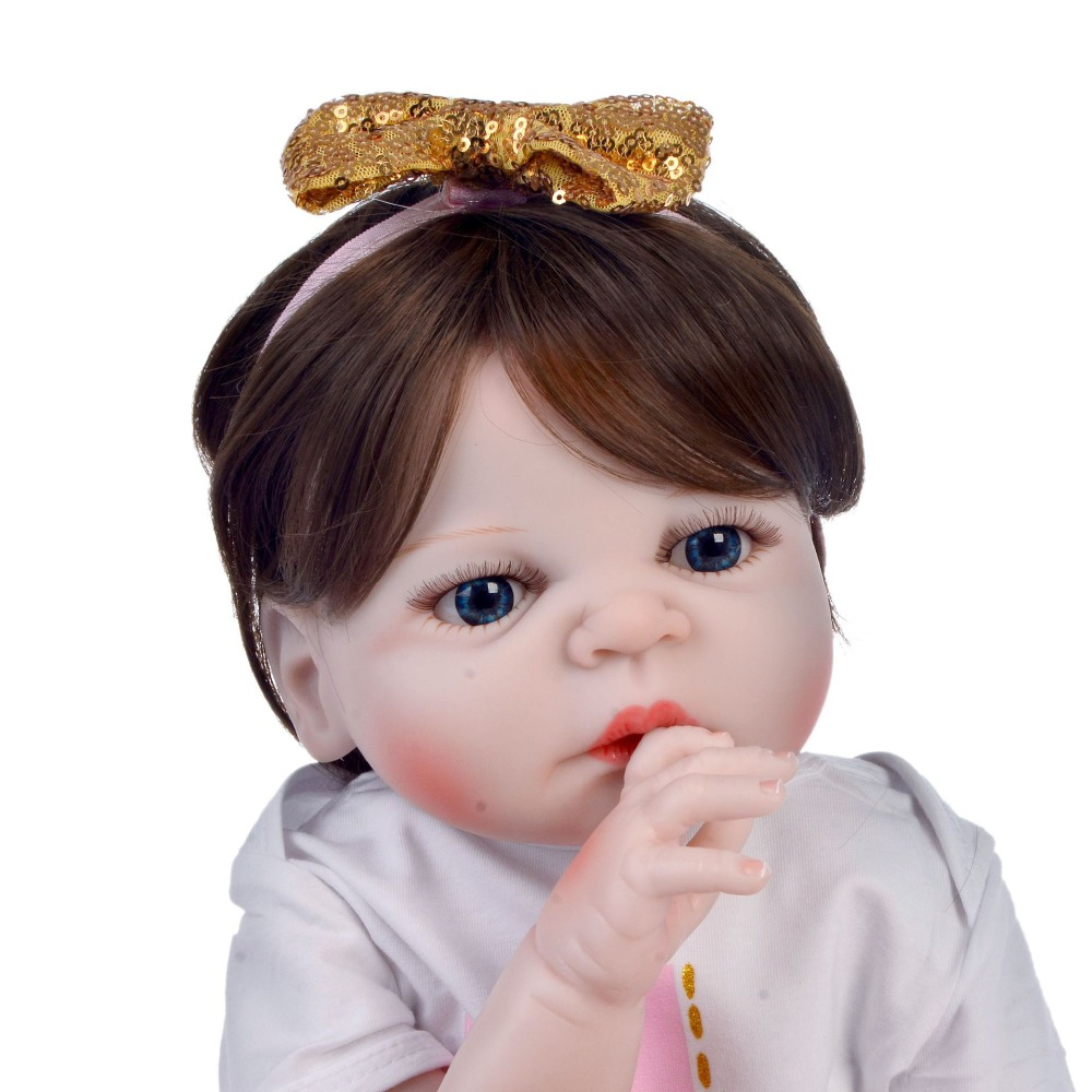 55cm Full Silicone Body Reborn Baby Doll Toy Vinyl Newborn Princess toddler Bebe Bathe Accompanying collectible Birthday Gift55cm Full Silicone Body Reborn Baby Doll Toy Vinyl Newborn Princess toddler Bebe Bathe Accompanying collectible Birthday Gift