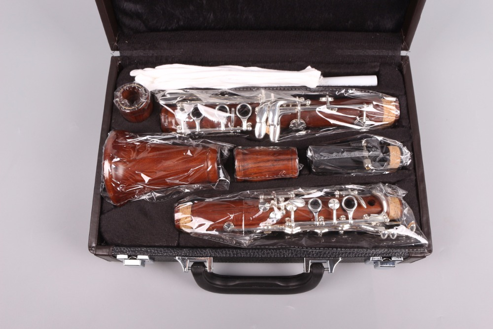 Professional CLARINET roseWood Body Nickel Plated Key Bb Key 17 ke professional new silver plated trumpet bb keys with monel valves horn case