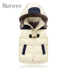 Hurave casual kids vest for baby boy girl patchwork warm jacket outwear children boy clothing winter princess vest girls clothes