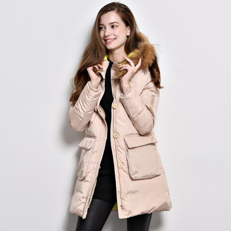 Winter Female Europe and the United States Little monster Big collar Long section Large size Down