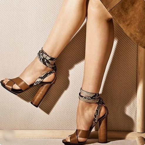Hot Selling Brown Leather Cross Ankle Strap Women Square Heels Sandals Peep Toe Cut-out Snake Print Leather Cut-out Dress ShoesHot Selling Brown Leather Cross Ankle Strap Women Square Heels Sandals Peep Toe Cut-out Snake Print Leather Cut-out Dress Shoes