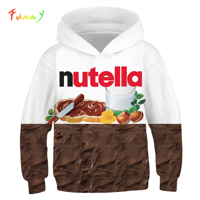 Boys Hoodies Sweatshirt Pullovers Nutella Food-Chicken-Pizza-Girls 3d-Print Teen Kids title=